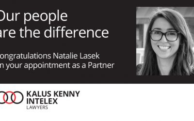 Natalie Lasek joins Kalus Kenny Intelex Partnership